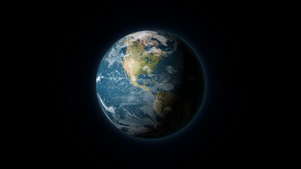 Realistic Earth centered on North America on a black background