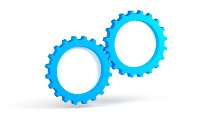 Blue gears on a white background for use in presentations, education manuals, design, etc. 3D