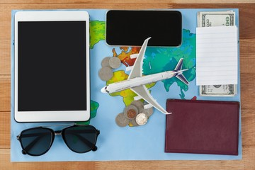 Holiday and tourism conceptual image with travel accessories