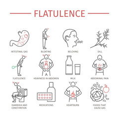 Flatulence. Symptoms, Treatment. Line icons set.