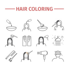 Hair coloring. Line icons set.
