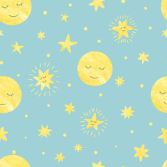 Seamless sleeping moon and stars pattern. Vector night illustration for kids.