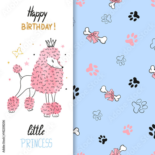 Watercolor Birthday Greeting Card Design For Little Girl Vector Illustration Of Cute Princess Poodle Dog