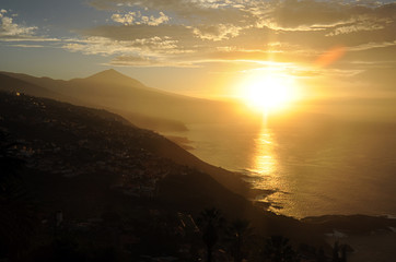 Soft, honey-like sunset over the northern coast of Tenerife, Canary Islands