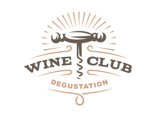 Wine corkscrew logo - vector illustration, emblem design on white background