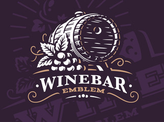 Wine barrel logo - vector illustration, emblem design on dark background