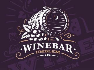 Wine barrel logo - vector illustration, emblem design on dark background