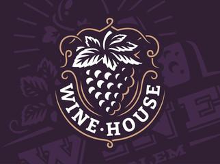 Grape logo - vector illustration, emblem design on dark background Fototapete