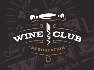 Wine corkscrew logo - vector illustration, emblem design on dark background