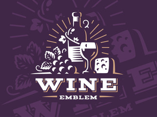 Bottle of wine and grapes logo - vector illustration, emblem design on dark background
