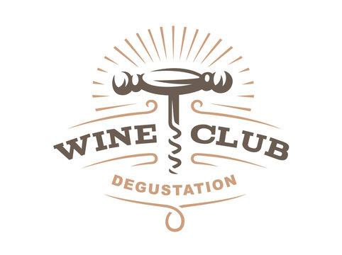 Wine corkscrew logo - vector illustration, emblem design on white background