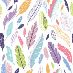 Wall Mural - Feathers vector seamless pattern