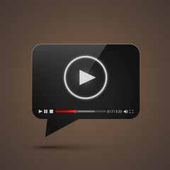Chat video frame flat icon, Black object design element, Vector illustration