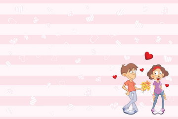 Printed roller blinds Baby room Valentine's card with a Cute Guy and Girl in Love. Illustration