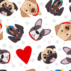 Vector illustration, seamless pattern of funny head of purebred dogs. Different type head of cartoon dogs.