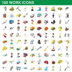 100 work icons set, cartoon style