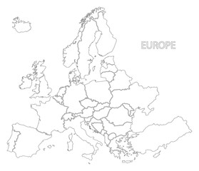 Europe outline silhouette map with countries