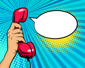 Pop art background with female hand holding old phone handset and empty speech bubble for your offer on halftone background. Vector colorful hand drawn illustration in retro comic style.