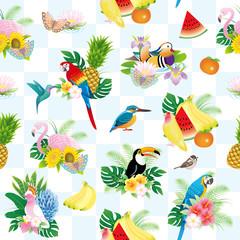 鳥と花・果物の夏イメージパターン