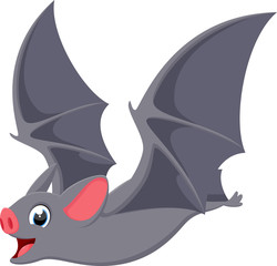 Happy flying bat cartoon