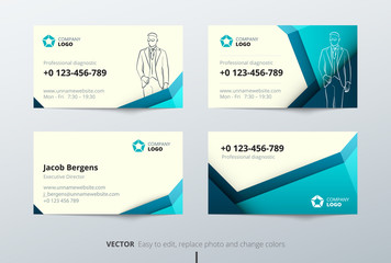 Business card design. Teal Business card template for personal or corporate use. Layout with modern elements and abstract triangle background. Creative vector concept