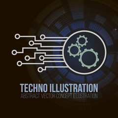 Circuit board banner vector on dark background. Gears, engineering and tech, motherboard and computer design, vector