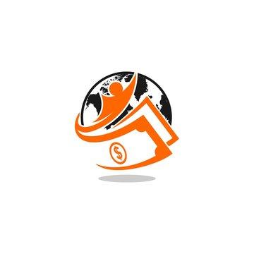 globe cash vector logo