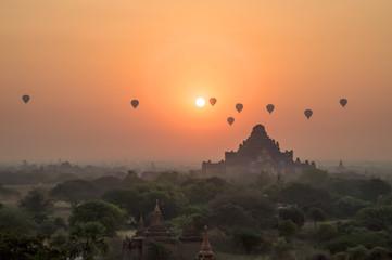 Hot air balloons at sunrise at Bagan temple in Burma, Myanmar