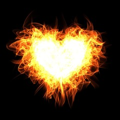 Fire heart on black background. Digital illustration.