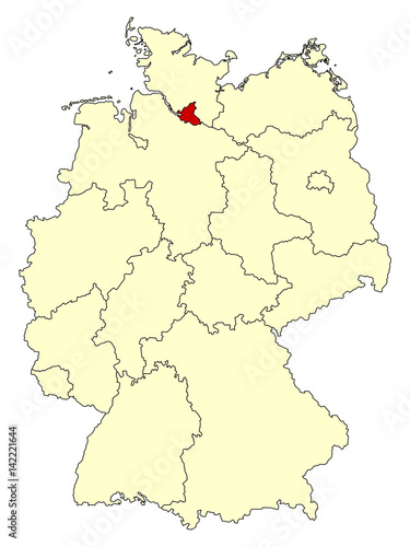 yellow map of germany with federal state hamburg isolated in red