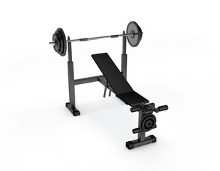 Exercise machine.Isolated on white background.3D rendering illustration.