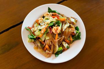 Thai fried seafood noodle
