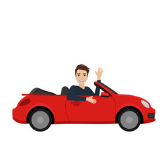 The guy in the red car. Flat design