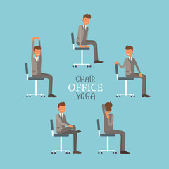 Vector illustration with office chair yoga. Businessman doing workout and stretching. Man in suit exercising on office chair. Icon set on blue background.