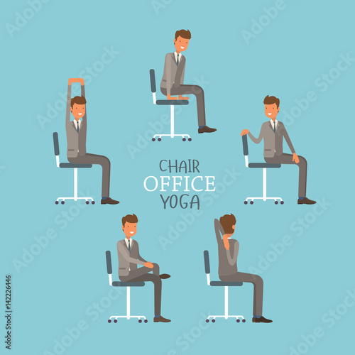 Vector illustration with office chair yoga. Businessman doing ... on office yoga guy, office yoga easy, office photography, office yoga poses, computer yoga, office stretches, office fitness, office chairs for heavy people, office yoga book, office chairs on sale, bed yoga, office chairs for back pain, office wing chairs, desk yoga, office weapons, office meditation, office furniture design,
