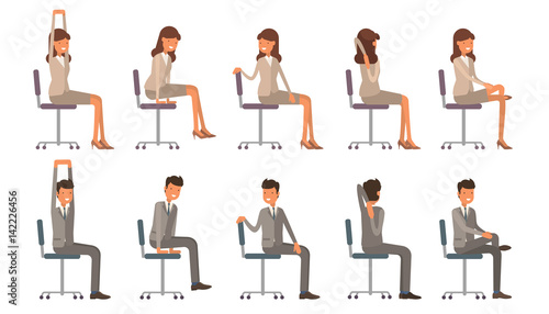 office chair yoga. corporate workout vector illustration on white