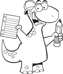 Black and white illustration of a dinosaur holding a paper and pencil.