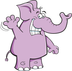 Cartoon illustration of an elephant waving.