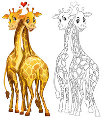 Doodle animal for giraffe couple
