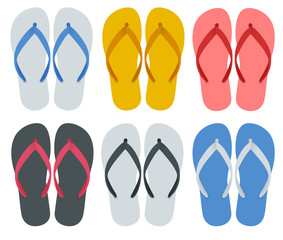 Slippers set of female with Multicolored slippers isolated on white background. Slippers for infographics and design.