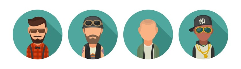 Set icon different subcultures people. Hipster, biker, skinhead, raper.