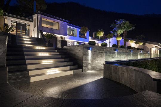 Exterior of luxurious modern villa, nobody