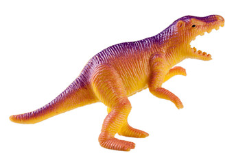 plastic dinosaur toy isolated on white background