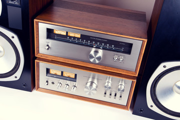 Amplifier, Tuner, Speakers Stereo Vintage Audio System