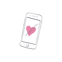 Hand drawn smartphone with simple doodle heart