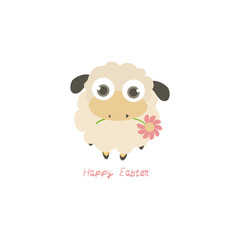Illustration with cartoon sheep and Happy Easter text