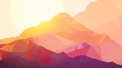 Geometric Mountain and Background - Vector Illustration