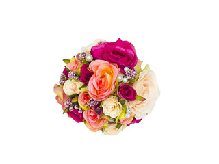 Decorative roses and flowers bouquet, siolated in white