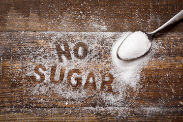 text no sugar written with sugar Wall mural
