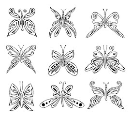Set of vector black and white illustration of insect. Butterflies isolated on the white background. Hand drawn graphic illustration. Line drawing